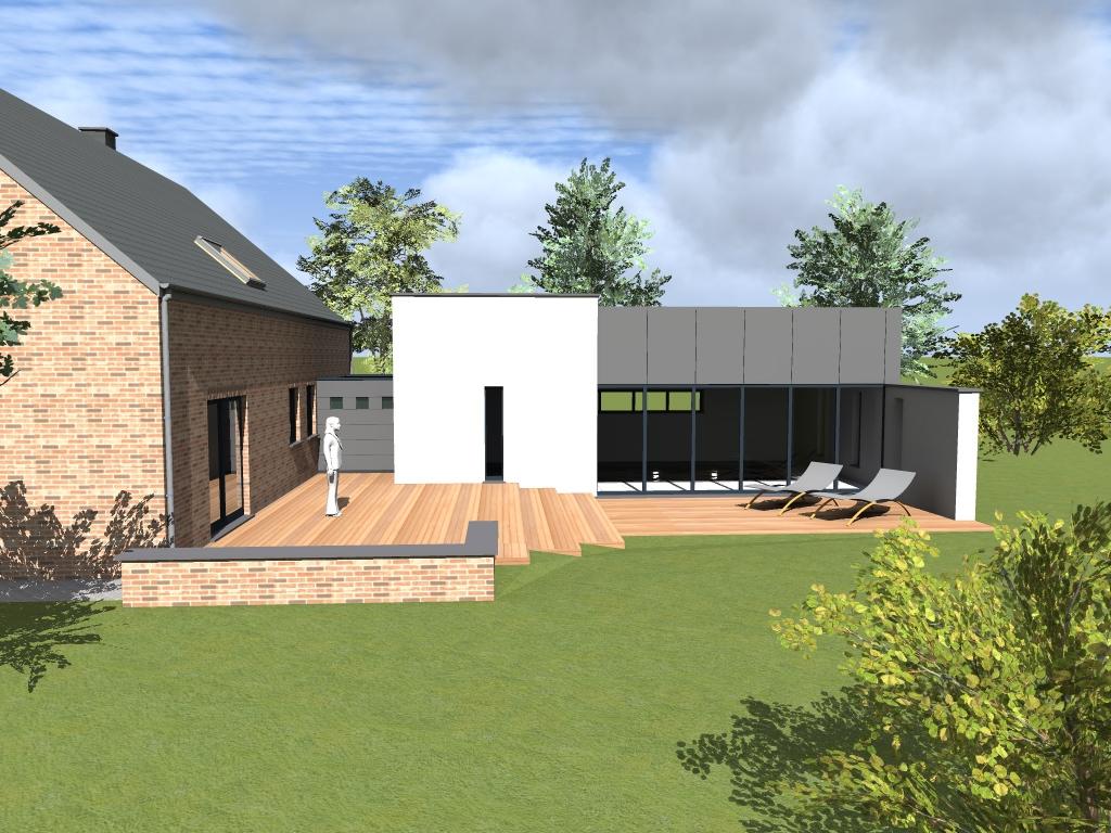 Extension maison beaufays pr s de li ge maison passive for Architecture 3d vue 3d
