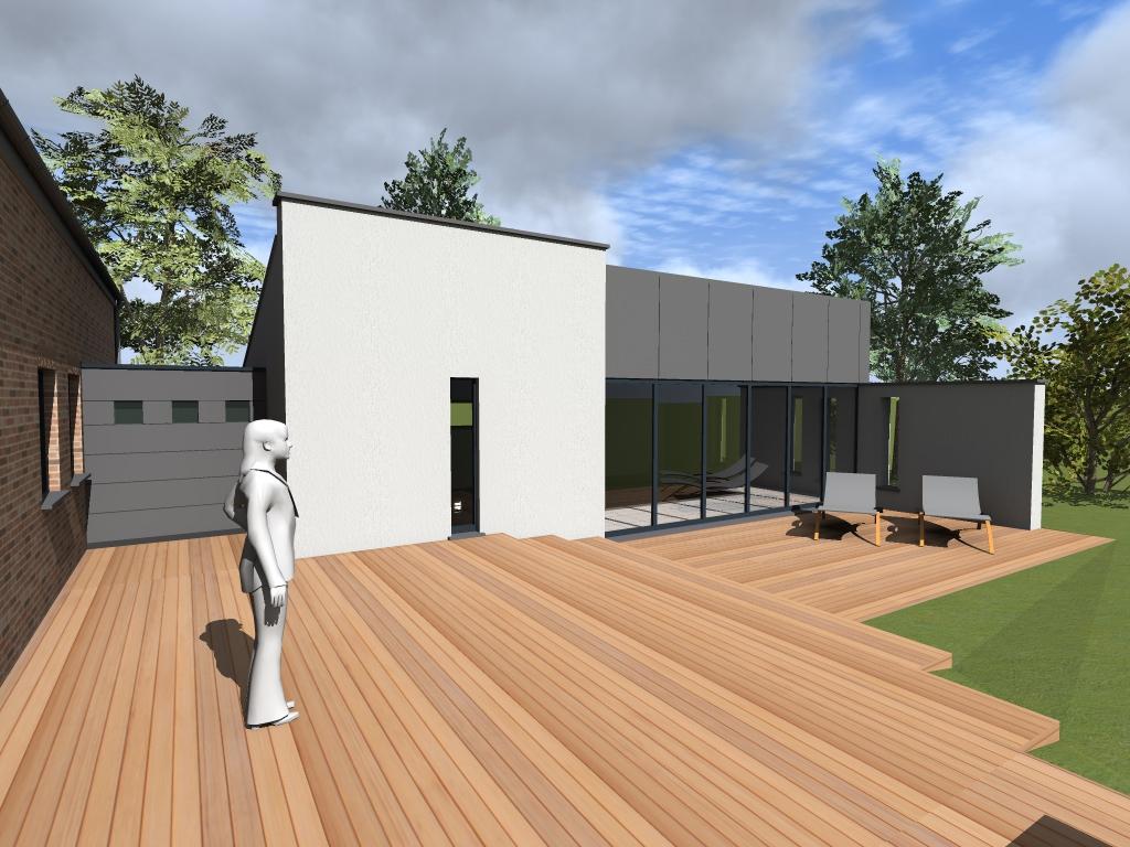 Extension maison beaufays pr s de li ge maison passive - Architecture 3d vue 3d ...